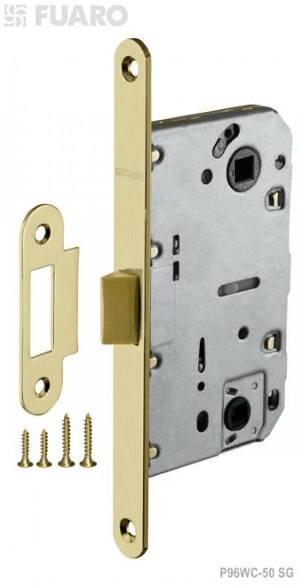 Защелка врезная PLASTIC P96WC-50 SG мат. золото с пластиковым язычком